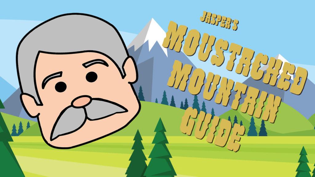 moustache mountain guide logo title